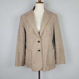 Vintage Tan Cream Wool Single Breasted Blazer 16